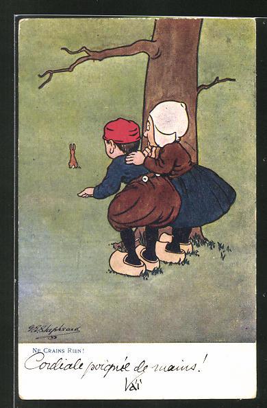 Künstler-AK George Edward Shepheard: Ne Crains Rien!, kleines niederl. Paar beobachtet Hasen