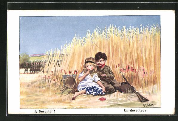 Künstler-AK sign. A. A. Nash: A Deserter!, Soldatenliebe