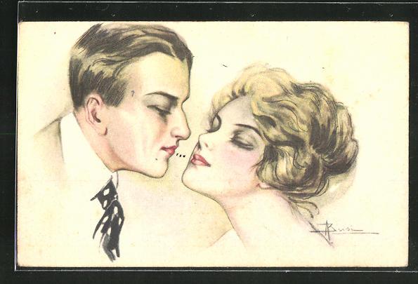 Künstler-AK Adolfo Busi: Elegantes Paar beim Kuss