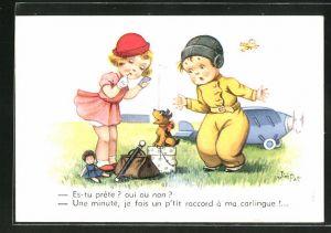 Künstler-AK sign. Jim Patt: Es-tu prête?..., kleiner Pilot und kleine Dame