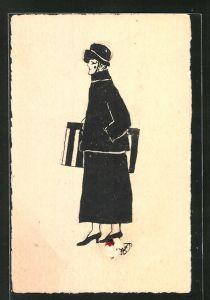Künstler-AK Handgemalt: Frau mit Tasche und Hut