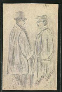 Künstler-AK Handgemalt: Portrait Mann mit Hut und Frau mit Schirmmütze
