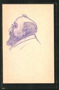 Künstler-AK Handgemalt: Portrait Mann mit Vollbart und Zwicker
