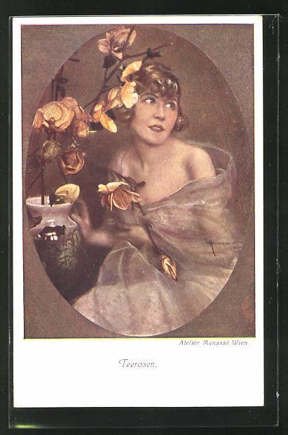 Künstler-AK Manasse: Frau mit Teerosen