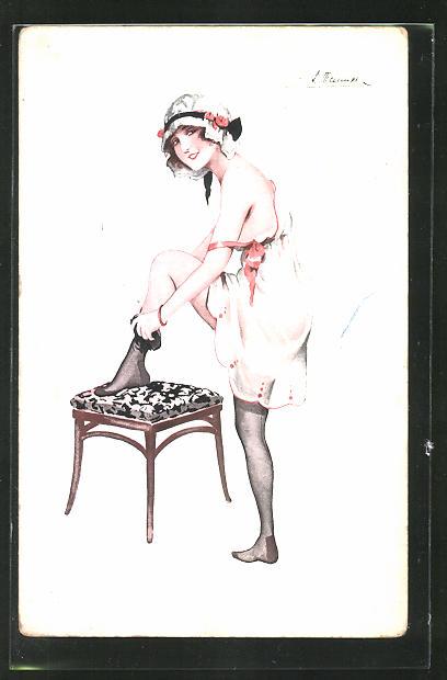 Künstler-AK Suzanne Meunier: Frau im Unterkleid mit Strümpfen