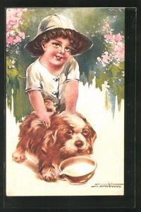 Künstler-AK M. Santino: Kind mit Hund und Napf