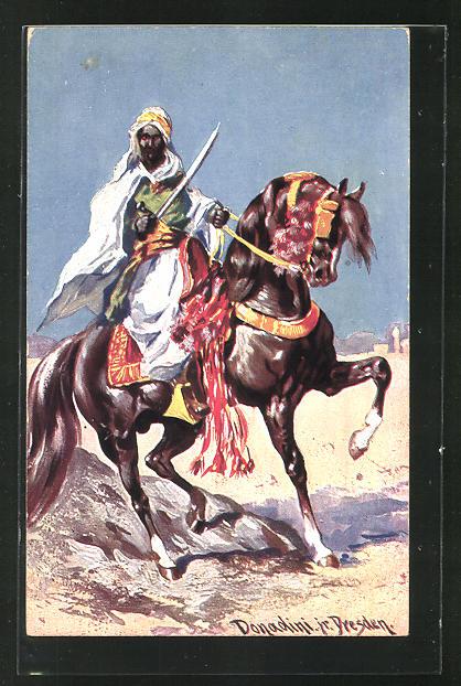 Künstler-AK Ermenegildo Carlo Donadini: Reiter mit Säbel auf seinem Pferd