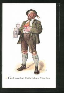 Künstler-AK Fritz Quidenus: Mann mit Hut und Bierkrug