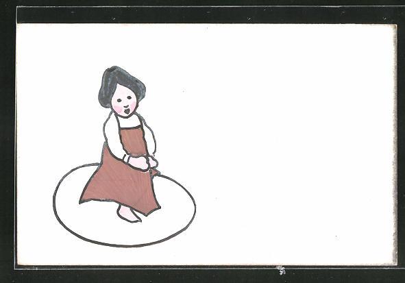 Künstler-AK Handgemalt: Kleines Mädchen auf Ei