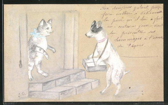 Künstler-AK Handgemalt: Hund mit Packet für Katze