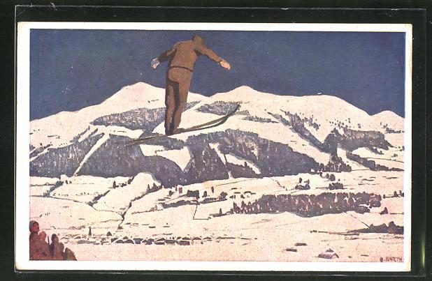Künstler-AK Otto Barth: Skispringer im Flug
