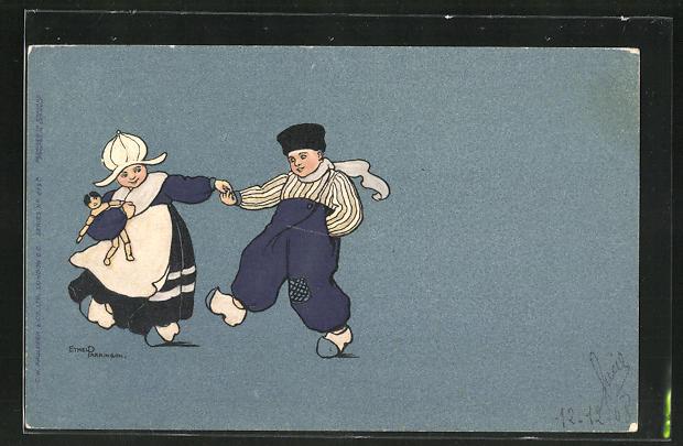 Künstler-AK Ethel Parkinson: tanzende niederländische Kinder