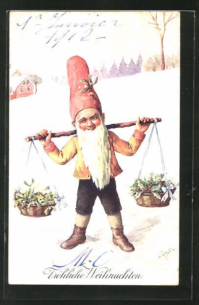 Künstler-AK C. Öhler: Fröhliche Weihnachten, Zwerg mit Weihnachtsgeschenken