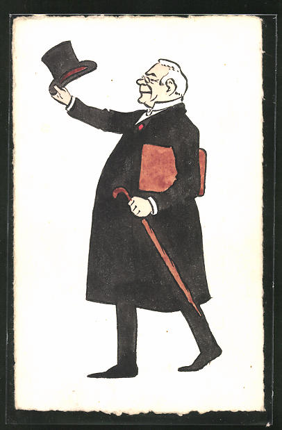 Künstler-AK Handgemalt: betagter Herr mit Zylinderhut und Regenschirm