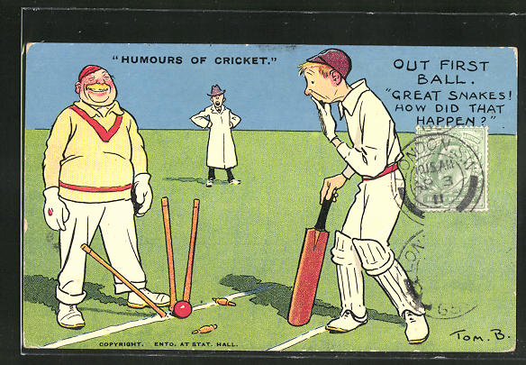 Künstler-AK Tom Browne: Humours of Cricket, Out First Ball, Scherz