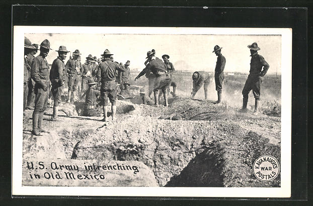AK US Army intrenching in Old Mexico, Schützengraben