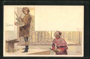Künstler-AK Leopoldo Metlicovitz: Tosca, Maler und Geistlicher