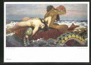 Künstler-AK Arnold Böcklin: Die Nereide, Fabelwesen