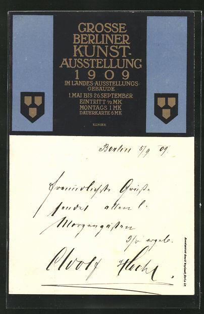Künstler-AK Max Klinger: Berlin, Grosse Kunst-Ausstellung 1909, Wappen