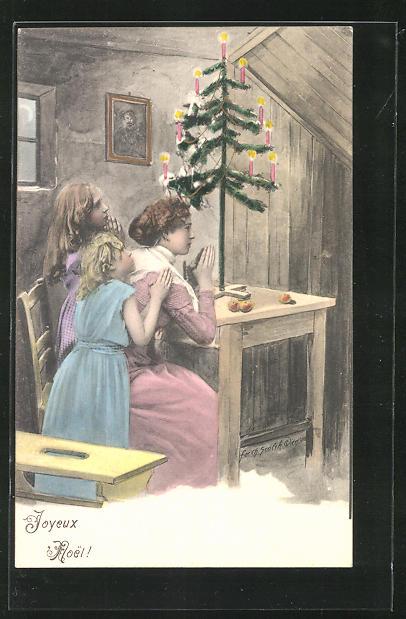 Künstler-AK Charles Scolik: Mutter und Töchter beten am Weihnachtsbaum