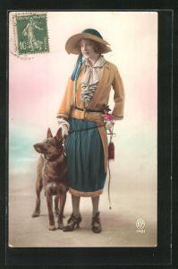 AK Junges Mädchen mit Schäferhund an der Leine