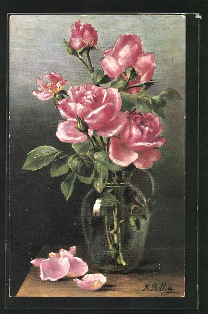 Künstler-AK M. Billing: Rosen in der Vase