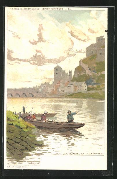 Künstler-AK sign. F. Ranot: Huy, Fischer erreichen mit ihren Booten das Ufer