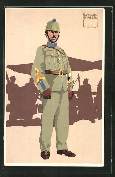 Künstler-AK sign. Emil Huber: Schweizer Soldat, 9. Sanität. Fourier in Felduniform