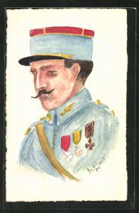 Künstler-AK Handgemalt: Französischer Soldat in Uniform mit Zigarette