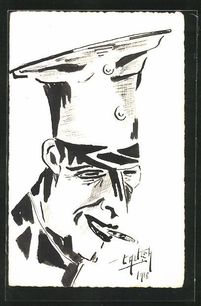 Künstler-AK Handgemalt: Karikatur eines Offiziers mit Zigarette