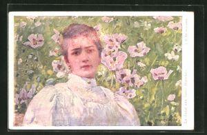 Künstler-AK sign. J. V. Krämer: Dame zwischen weissen Blüten