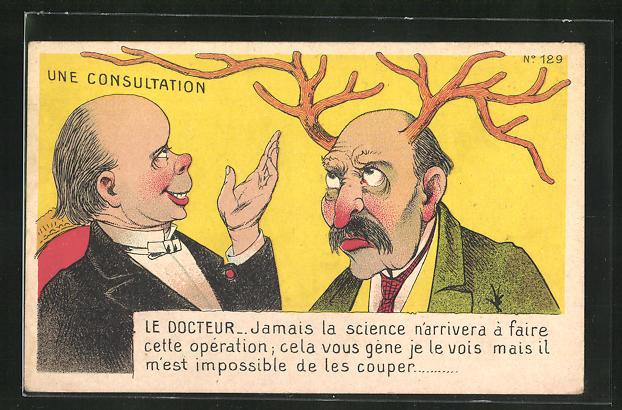 AK Mann mit Hörnern auf dem Kopf konsultiert einen Arzt, Erotik