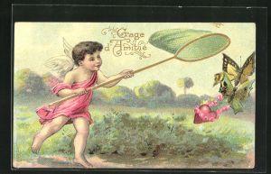 Präge-AK Engel fängt Schmetterlinge auf der Wiese