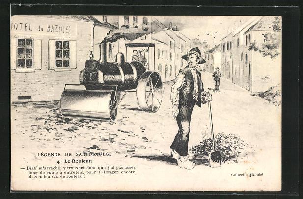 AK Strassenbau, Männer bei der Arbeit mit Spaten und Walze