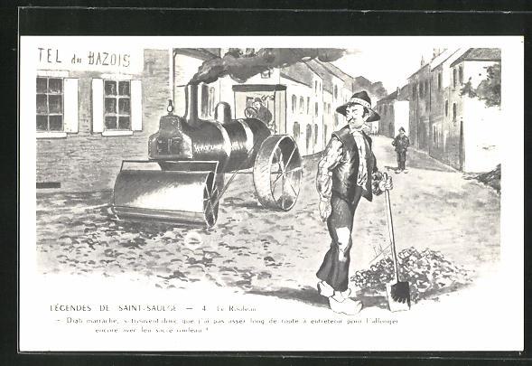 AK Männer arbeiten im Strassenbau mit Spaten und Walzenwagen