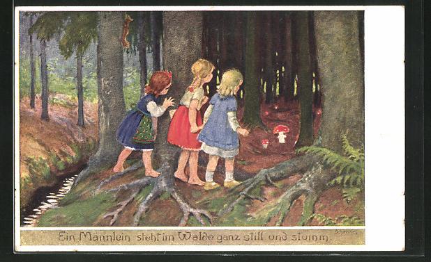 Künstler-AK Franziska Schenkel: Mädchen entdecken Pilze im Wald