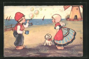 Künstler-AK Margret Boriss: Mädchen und Junge mit Holzschuhen vor einer Windmühle, Junge bläst Seifenblasen