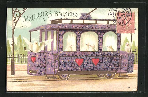 Präge-AK Blumenbild, Strassenbahn mit lila Blüten und weissen Tauben