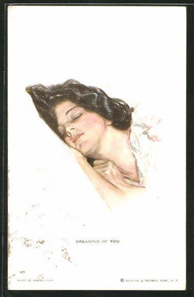 Künstler-AK Harrison Fisher: Frau schläft auf einem Kissen