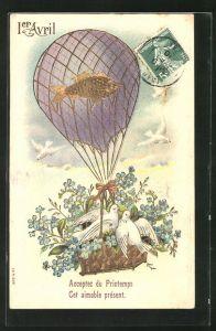 Präge-AK Ballon transportiert Veilchen und weisse Tauben in einem Korb, 1. April