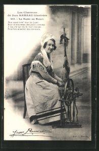 AK Frau in Tracht sitzt am Spinnrad