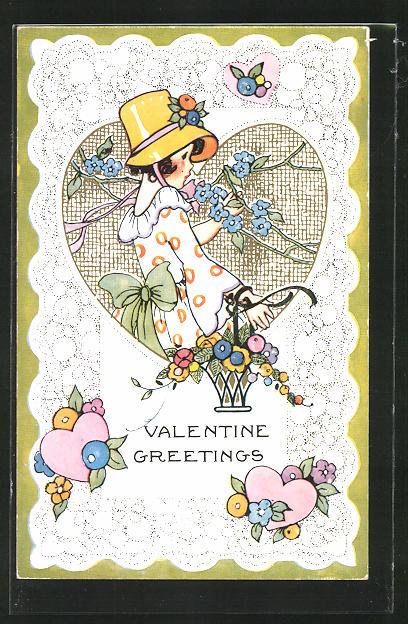 Präge-AK Mädchen mit Korb und Blumen im Herz-Rahmen, Glückwunsch zum Valentinstag