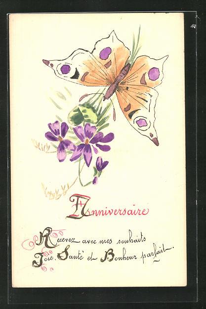 Künstler-AK Handgemalt: Blume und Schmetterling