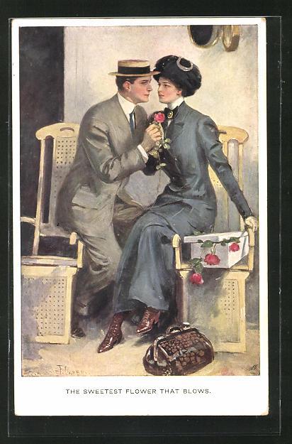 Künstler-AK Clarence F. Underwood: Mann und Frau mit Blumen