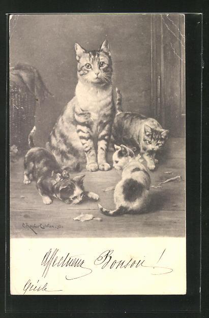 Künstler-AK Carl Reichert: Katze und Katzenjunge