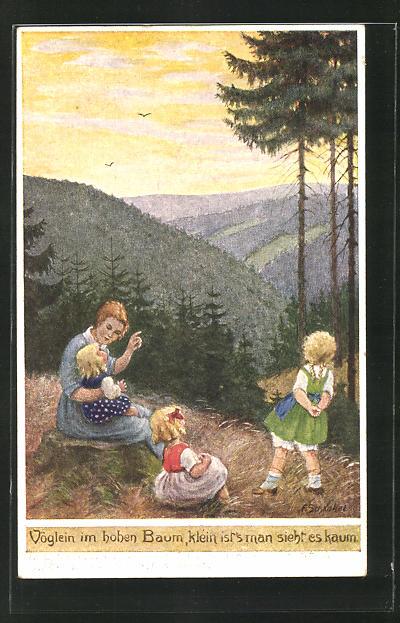 Künstler-AK Franziska Schenkel: Mutter mit Kindern im Wald mit Blick in die Berge