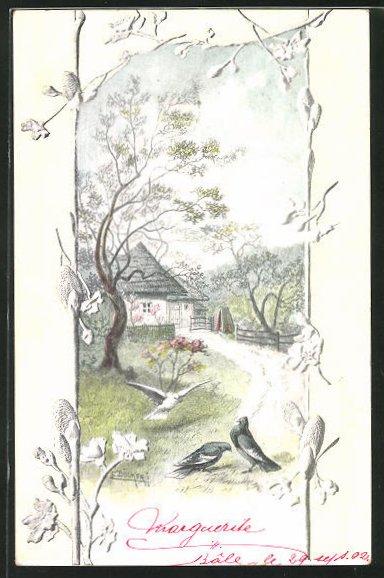 Künstler-AK E. Döcker: Gartenpartie mit Vögeln