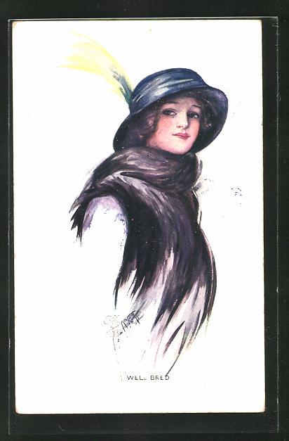 Künstler-AK Court Barber: Portrait Frau mit Hut und Schal