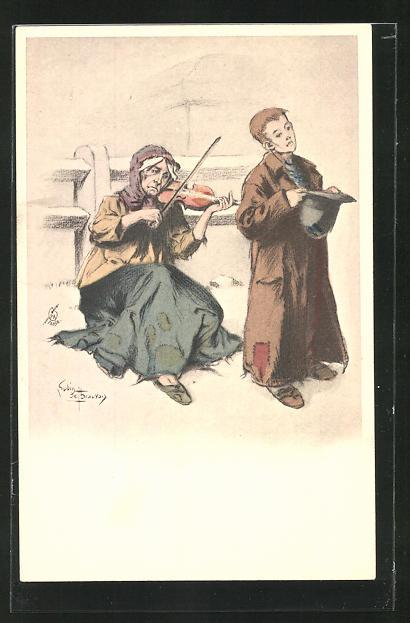 Künstler-AK sign. L. Beauvais: Alte Frau mit Geige und kleiner Junge mit Hut