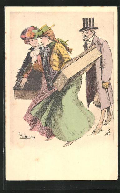 Künstler-AK sign. L. Beauvais: Zwei Frauen mit Hüten und Schachteln und Mann im Zylinder